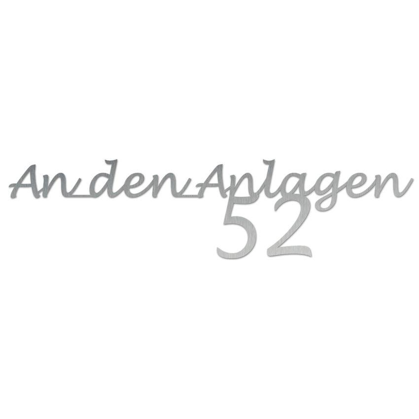 Edelstahl Hausnummer mit Straßenname - Design Handwriting - bis 21 Buchstaben