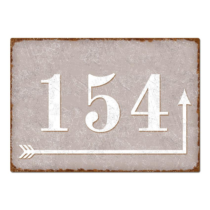 Hausnummer mit Richtungspfeil - Vintage Stil taupe bei SchilderShop