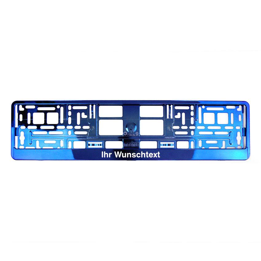 Kennzeichenhalter mit Wunschtext blau chrom 1 Stück
