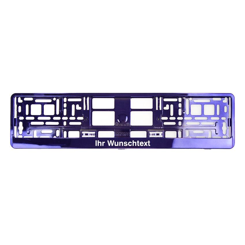 Kennzeichenhalter mit Wunschtext lila chrom 1 Stück