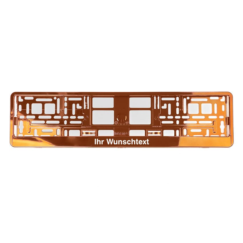 Kennzeichenhalter mit Wunschtext orange chrom 1 Stück