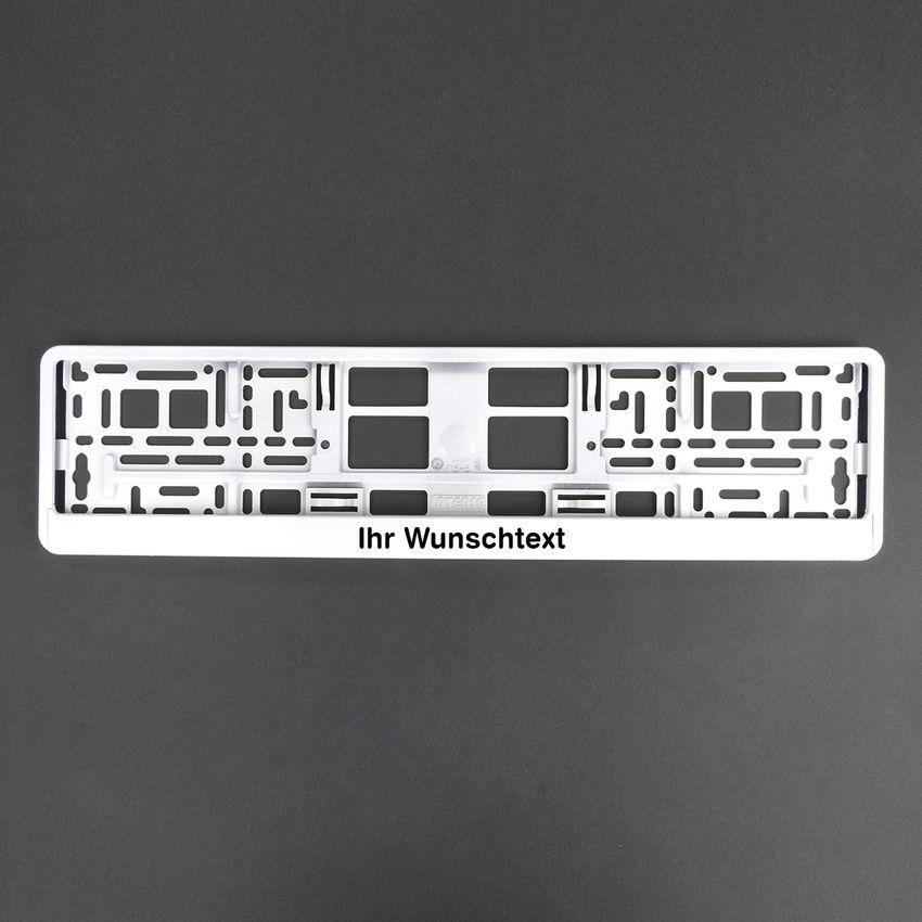 Nummernschildhalter Klavierlack weiß mit Wunschtext 1 Stück