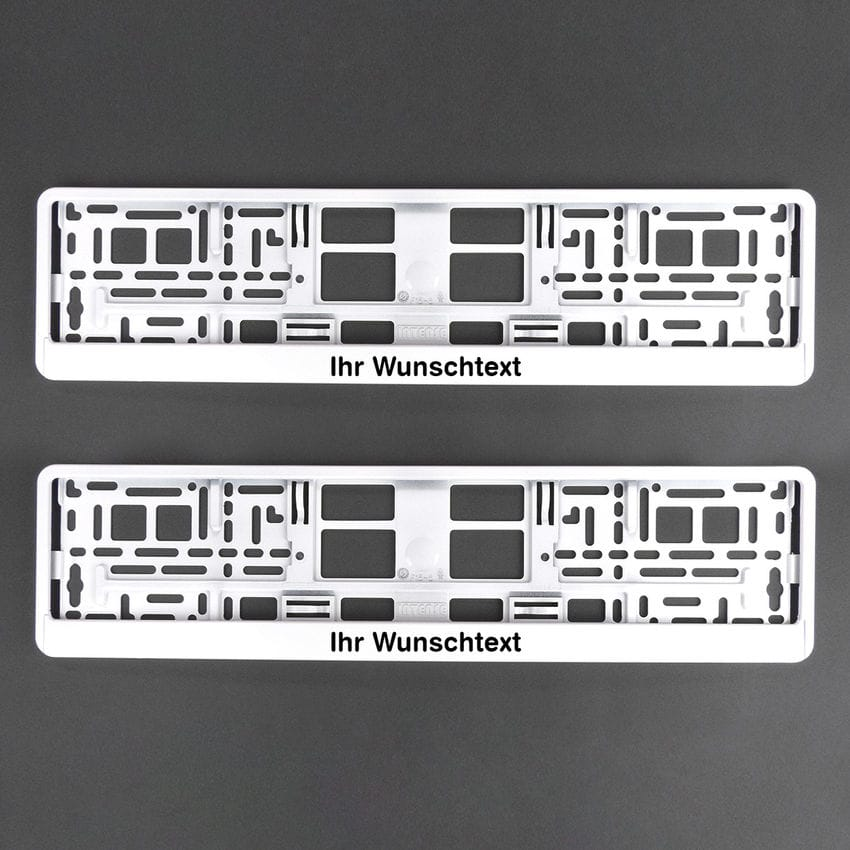 Nummernschildhalter Klavierlack weiß mit Wunschtext 2 Stück