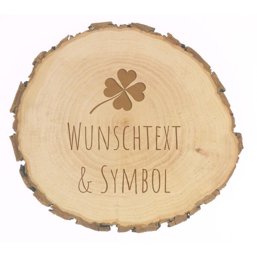 rundes Holzschild mit Wunschtext und Symbol Gravur