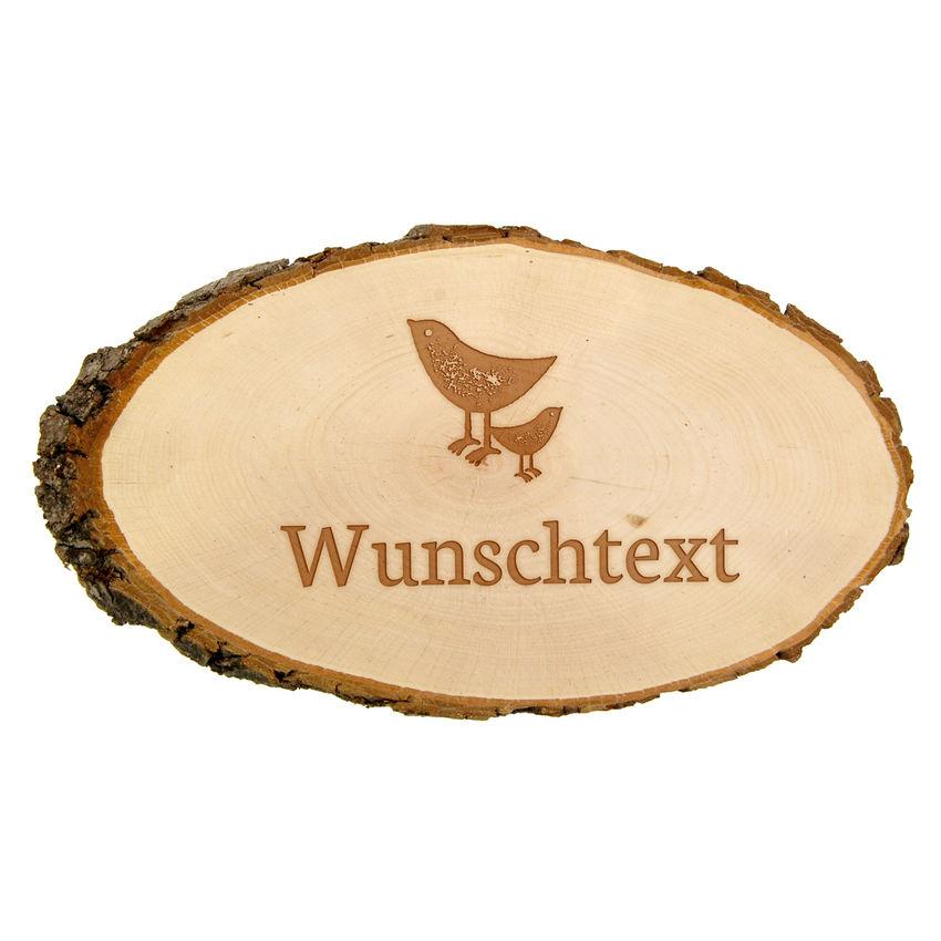 Holzrindenschild oval mit Wunschtext und Symbol - 23 cm - Gravur