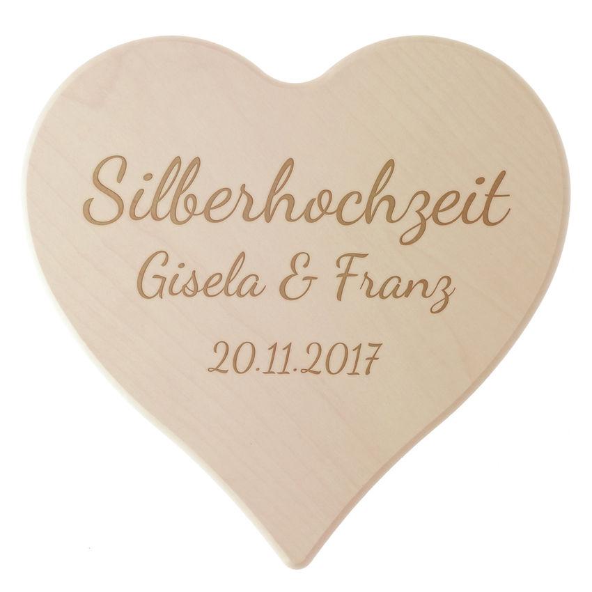 Holzherz zur Silberhochzeit mit Gravur bei SchilderShop