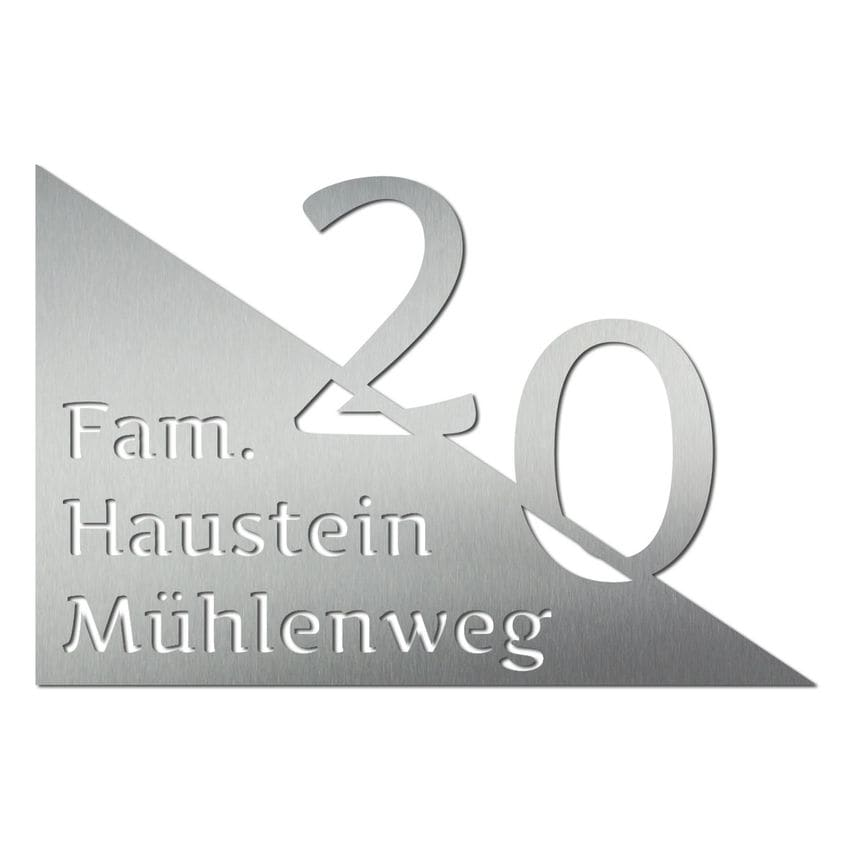 Hausnummer mit Name aus Edelstahl - Design Triangle