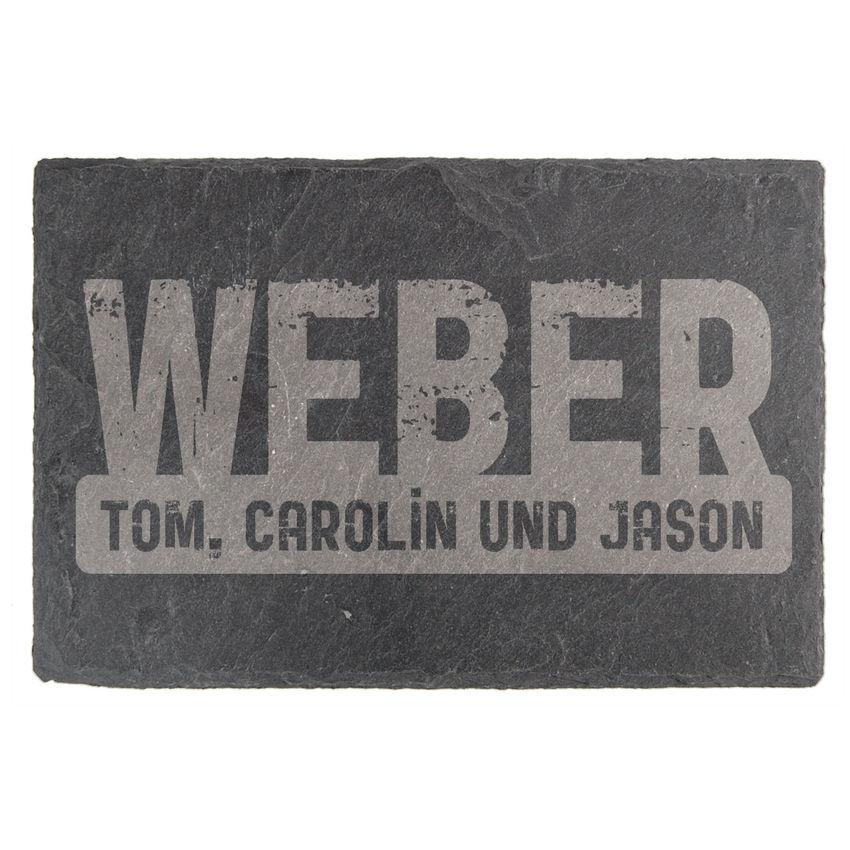 Tür- & Namensschild aus Schiefer 15 x 10 cm - Design Crushed