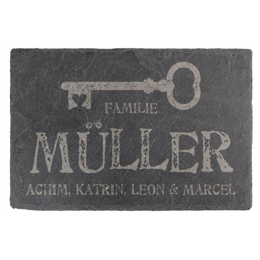 Tür- & Namensschild aus Schiefer 15 x 10 cm - Design Key