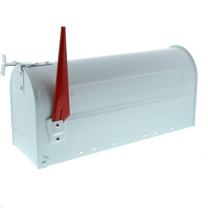 U.S. Amerikanischer Briefkasten Mailbox mit roter Fahne in weiß wie in den USA