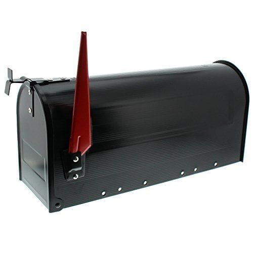U.S. Amerikanischer Briefkasten Mailbox mit roter Fahne in schwarz wie in USA