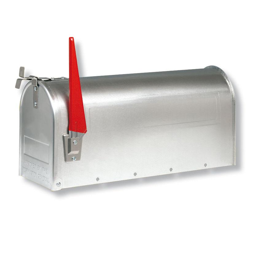 U.S. Amerikanischer Briefkasten Mailbox mit roter Fahne in silber wie in den USA