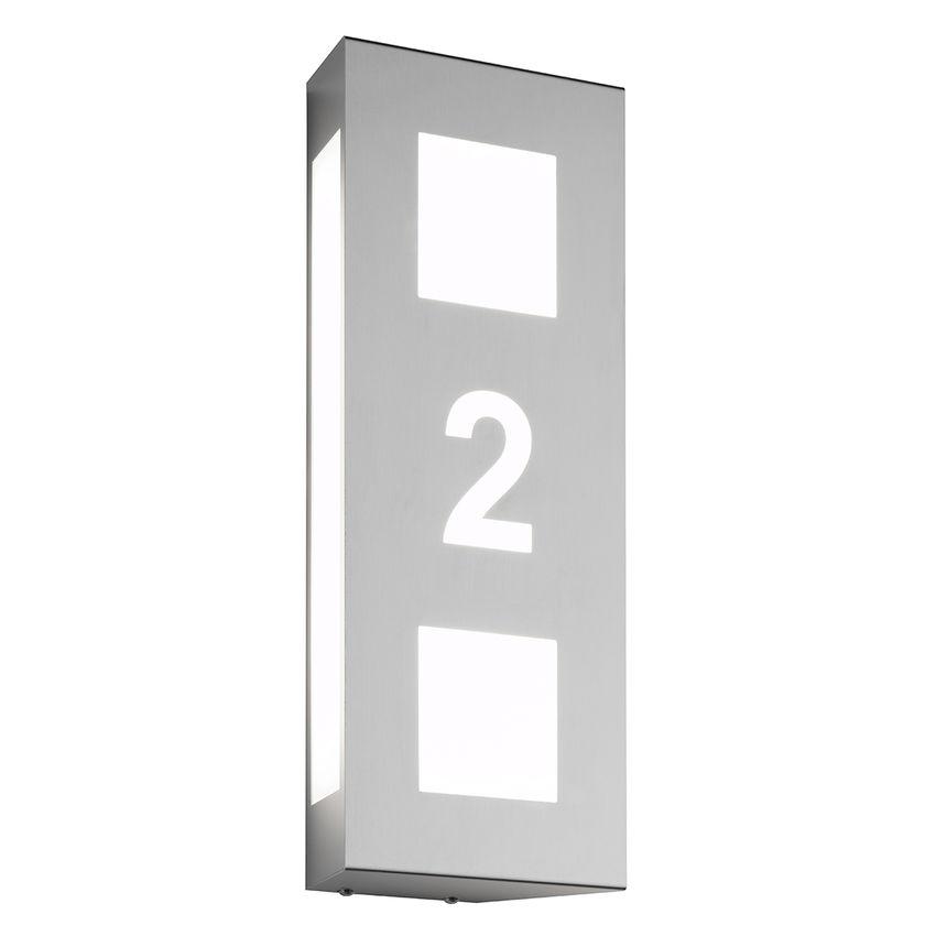 Beleuchtete Hausnummer aus Edelstahl und Opalglas für LED mit E27 Fassung