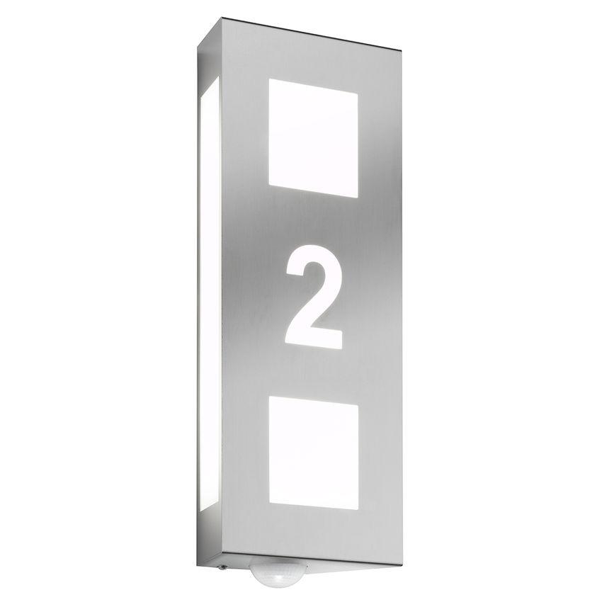 Beleuchtete Hausnummer aus Edelstahl und Opalglas mit Bewegungsmelder