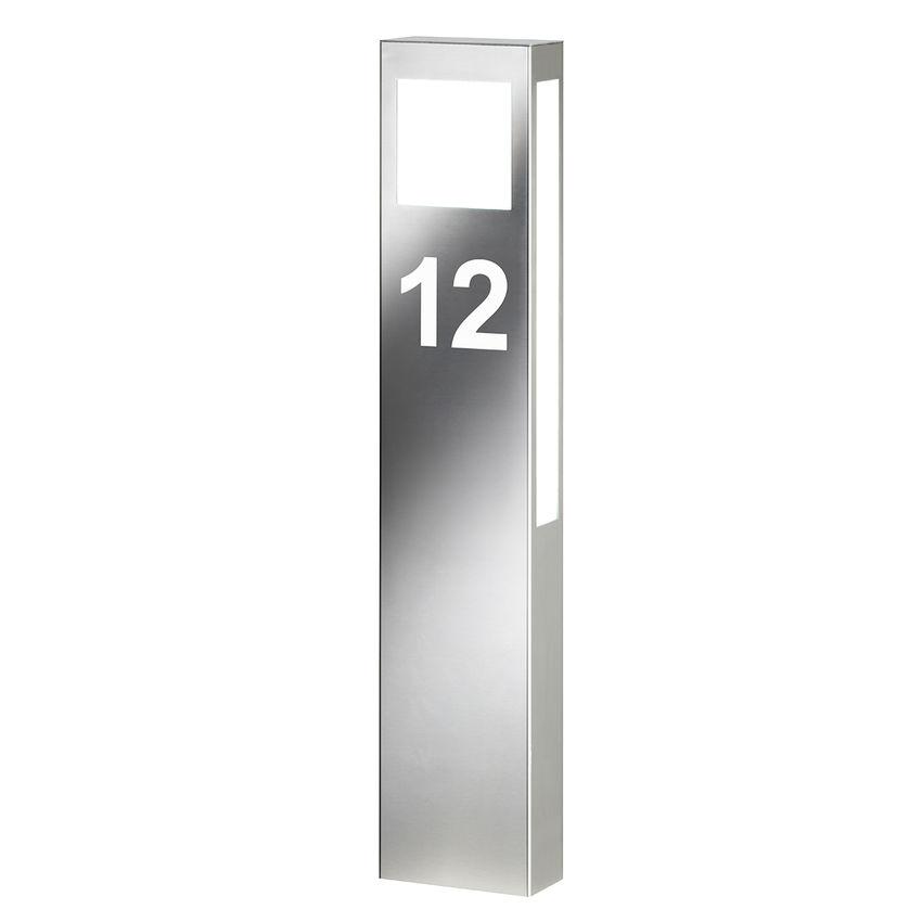 Beleuchtete Hausnummer aus Edelstahl als Standleuchte für den Außenbereich