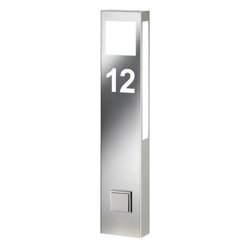 Beleuchtete Hausnummer aus Edelstahl als Standleuchte mit Steckdose