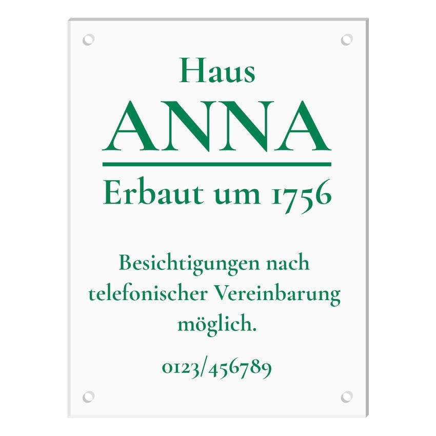 Schild aus Acrylglas mit Wunschtext - Größe 300 x 400 mm [groß]