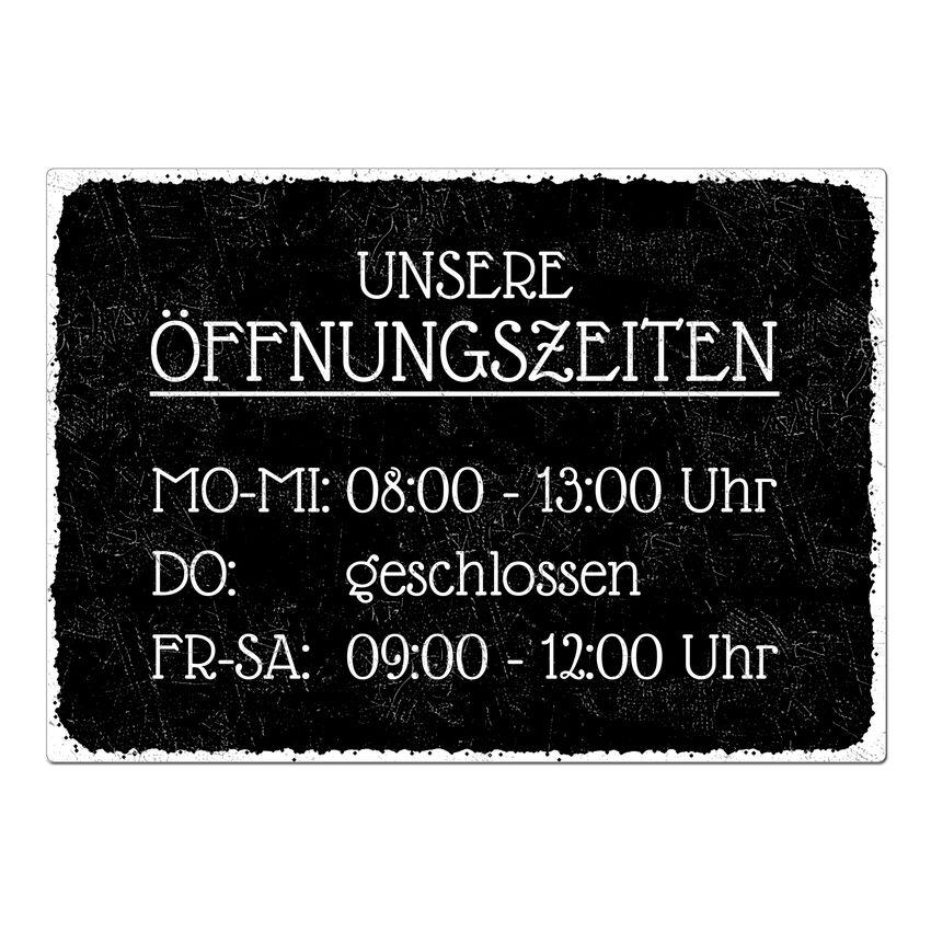 Schild Öffnungszeiten A3 - Black Vintage extra large