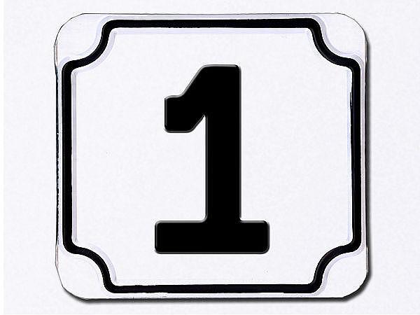 Weiße einstellige geprägte Hausnummer - Top Empfehlung vom Schilderhersteller