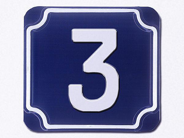 Schilderfabrik Empfehlung Geprägte blaue Hausnummern 1-stellig