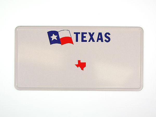 Texas Plate mit Flagge und individuellem Wunschtext in Folienschrift