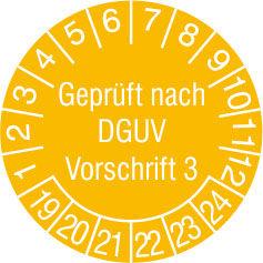 Prüfplakette - mit Jahresfarbe »Geprüft nach DGUV Vorschrift 3«