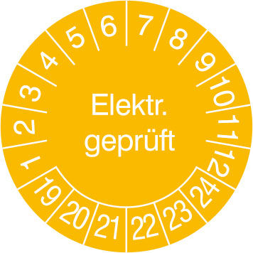 Prüfplakette - mit Jahresfarbe »Elektr. Geprüft «