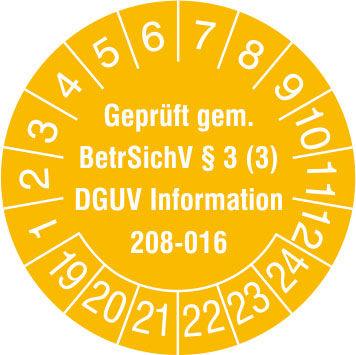 Prüfplakette - mit Jahresfarbe »Geprüft gem. BetrSichV §3 (3), DGUV Information 208-016«