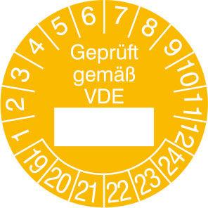 Prüfplakette - mit Jahresfarbe »Geprüft gemäß VDE«