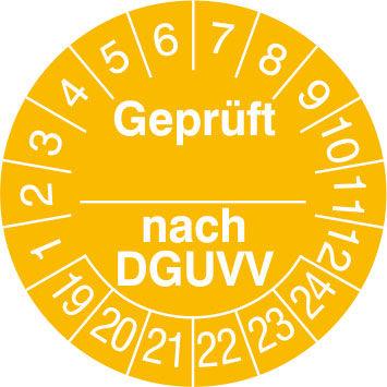 Prüfplakette - mit Jahresfarbe »Geprüft nach ...DGUVV«