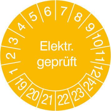 Prüfplakette - mit Jahresfarbe »Elektr. Geprüft«
