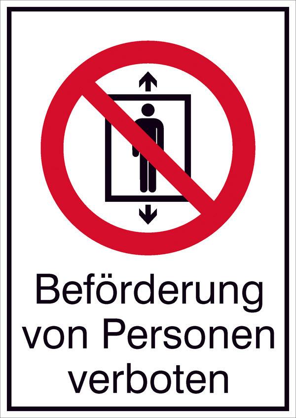 Verbots-Kombischild »Beförderung von Personen verboten«