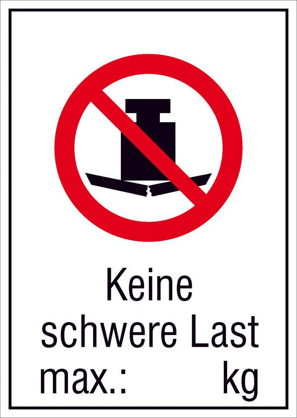 Verbots-Kombischild »Keine schwere Last, max.: kg«