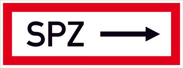 Hinweisschild für die Feuerwehr »SPZ ---->«