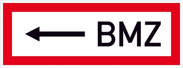 Hinweisschild für die Feuerwehr »<---- BMZ«
