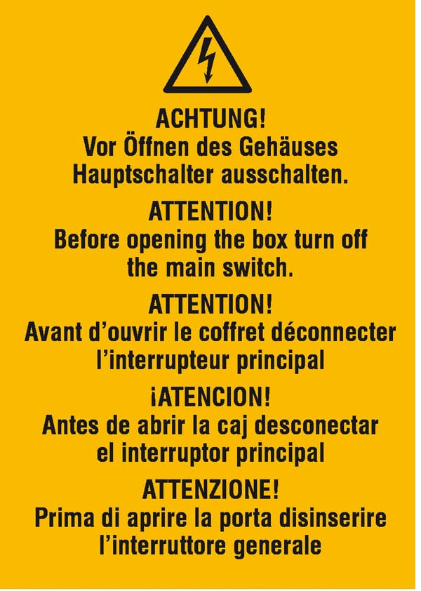 Warn-Kombischild »Vor Öffnen des Gehäuses Hauptschalter ausschalten«