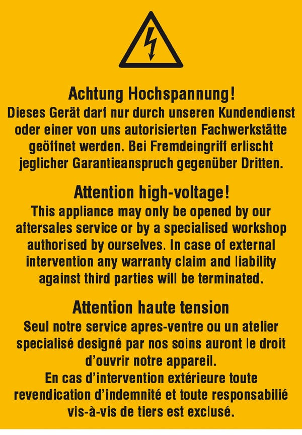 Warn-Kombischild »Achtung Hochspannung! Dieses Gerät darf nur durch unseren Kundendienst…«