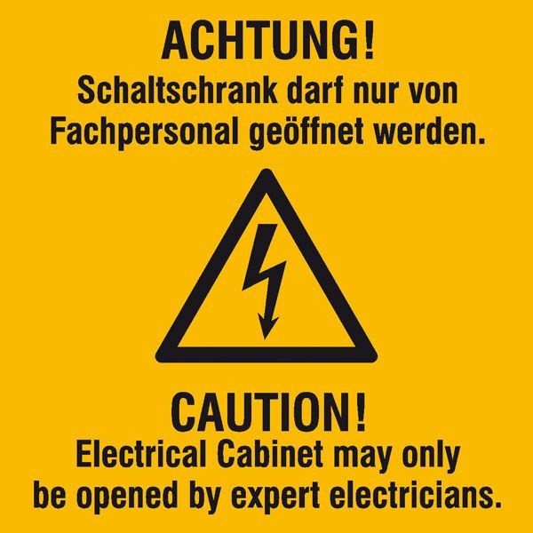 Warn-Kombischild »Achtung! Schaltschrank darf nur von Fachpersonal geöffnet werden,«
