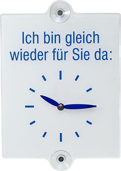 Hinweisschild »Abbildung: Uhr, Text: Ich bin gleich wieder für Sie da«