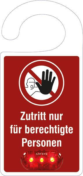 Türanhänger »Text: Zutritt nur für berechtigte Personen«