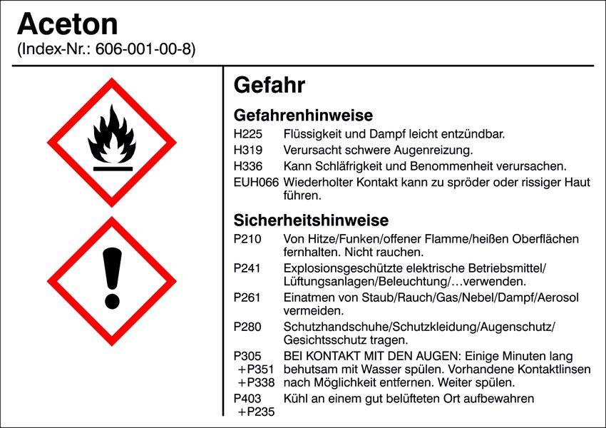 Gefahrstoffetikett »G001: Aceton« - Hausnummern und Schilder online ...