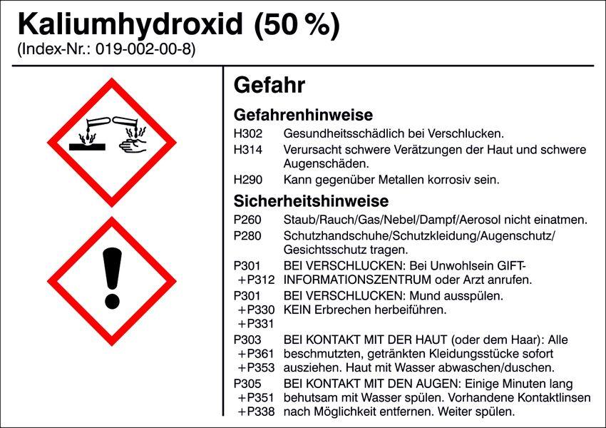 Gefahrstoffetikett »G012: Kaliumhydroxid (50%)«