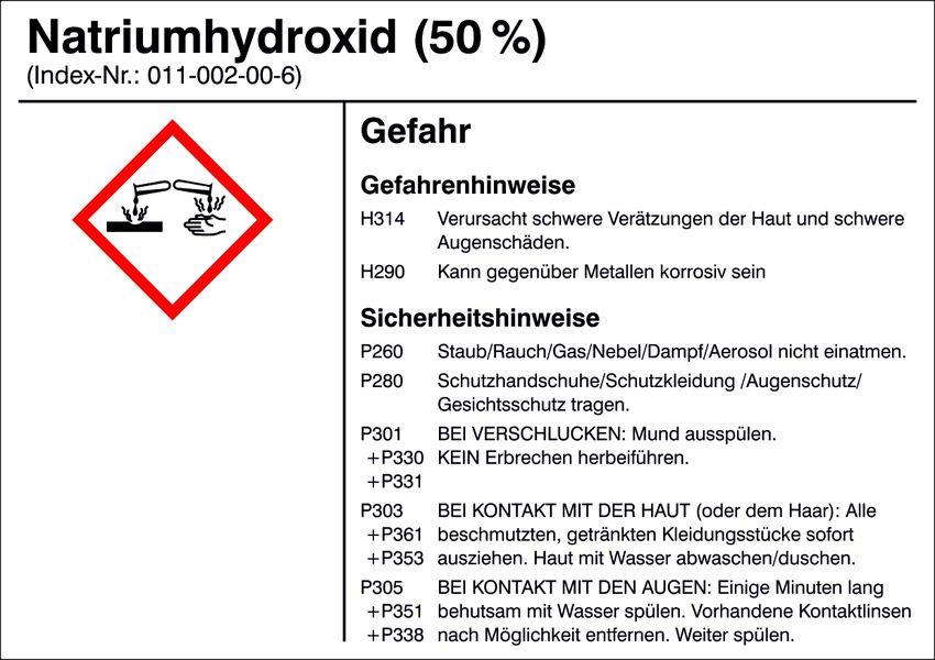 Gefahrstoffetikett »G015: Natriumhydroxid (50%)«
