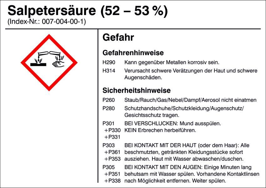 Gefahrstoffetikett »G017: Salpetersäure (52-53%)«