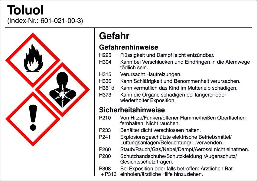 Gefahrstoffetikett »G020: Toluol«