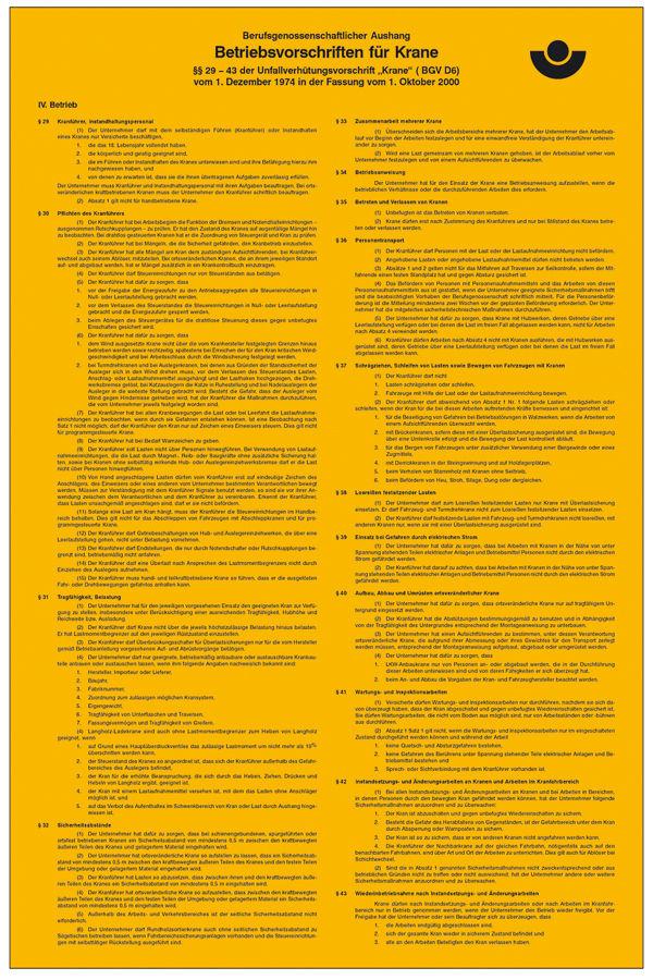 Aushang - Berufsgenossenschaft »Betriebsvorschriften für
