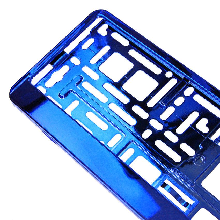 Kennzeichenhalter mit Wunschtext blau chrom 2 Stück - Hausnummern ...