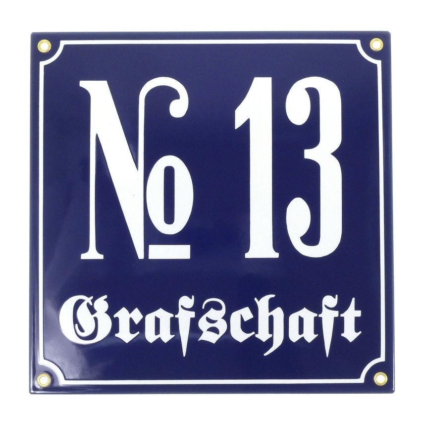 6 schwarze Zahl auf weißem Hintergrund 14 cm x 14 cm Emaille Hausnummer Nr