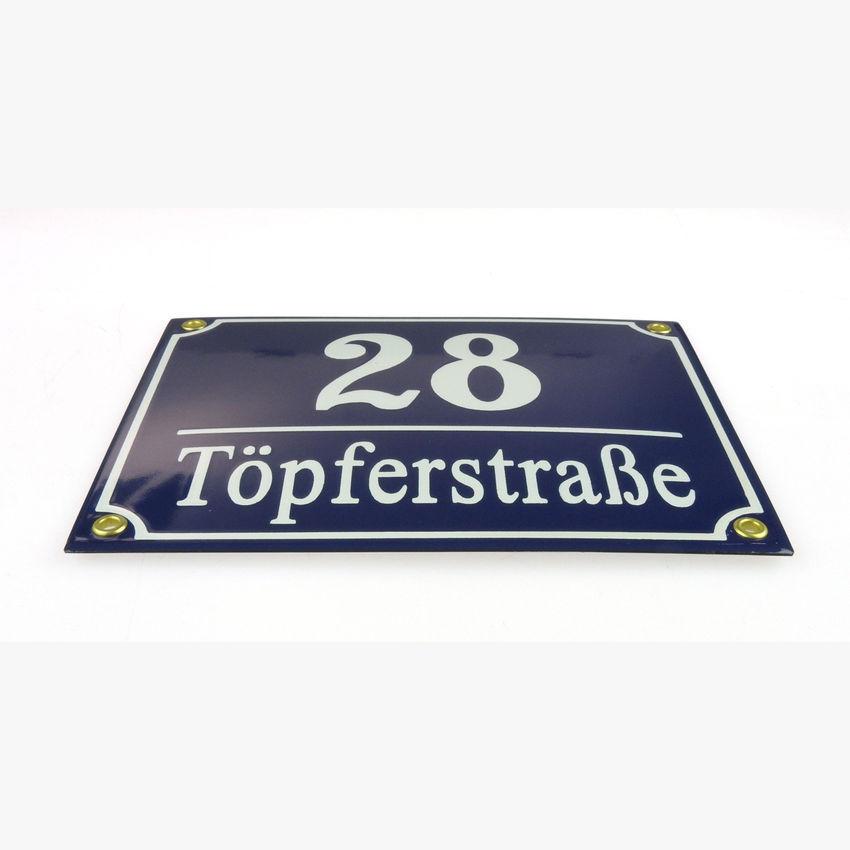Emaille hausnummer und stra enname 20 x 16 cm for Gartendeko schilder