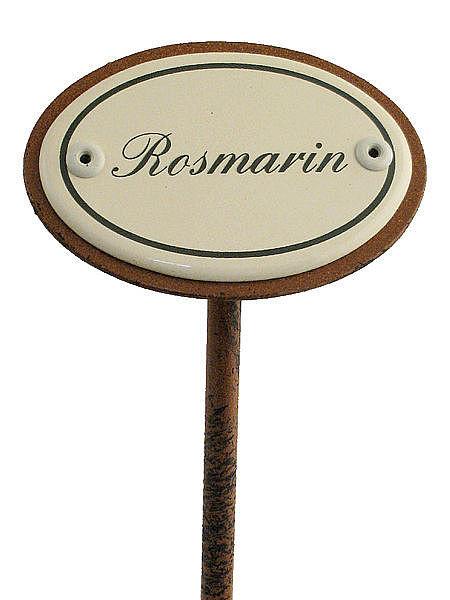 Gartenstecker aus emaille f r das kr uterbeet rosmarin for Gartendeko schilder